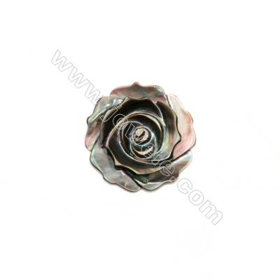Rosa de madrepérola cinza 25mm x 10 pcs. Orificio de 1mm